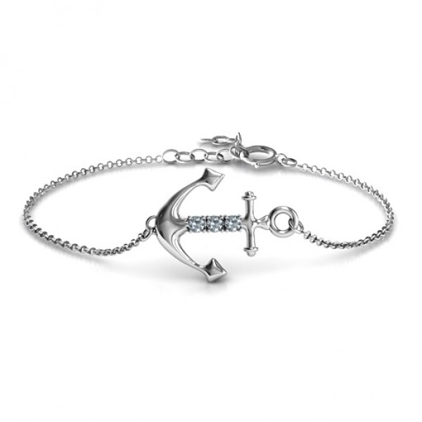 18CT White Gold Anchor Bracelet with Three Stones