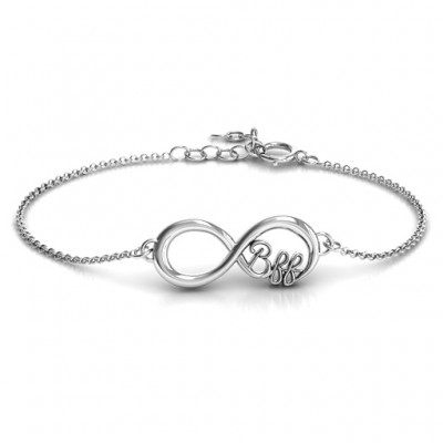 18CT White Gold BFF Friendship Infinity Bracelet