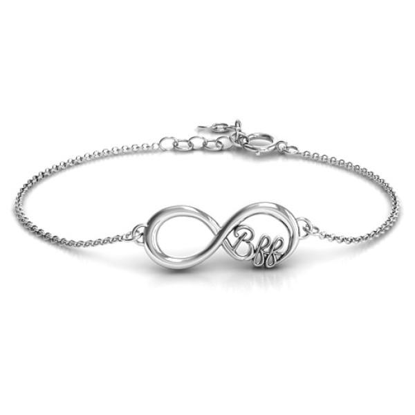 18CT White Gold BFF Friendship Infinity Bracelet