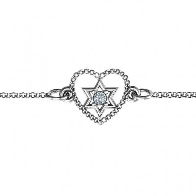 18CT White Gold Chained Heart with Star of David Bracelet