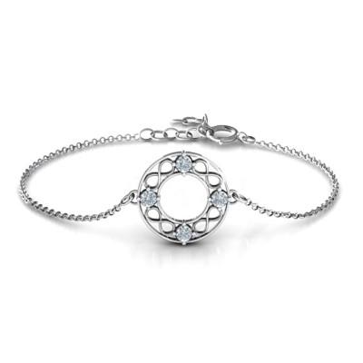 18CT White Gold Circular Infinity Bracelet