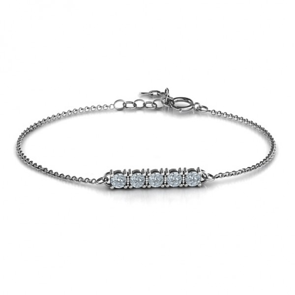 18CT White Gold Classic 5 Birthstone Bracelet