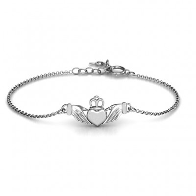 18CT White Gold Classic Claddagh Bracelet