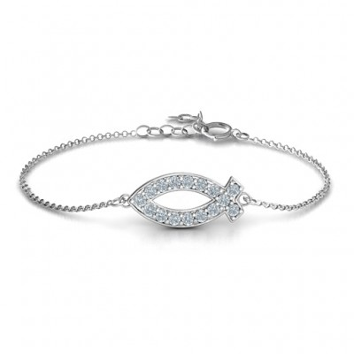 18CT White Gold Classic Fish Bracelet