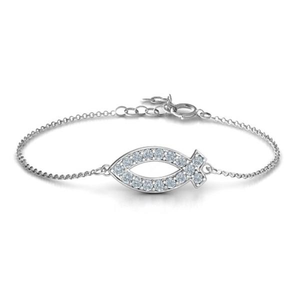18CT White Gold Classic Fish Bracelet
