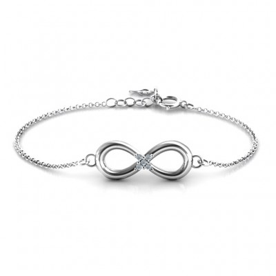 18CT White Gold Classic Infinity With Centre Accents Bracelet