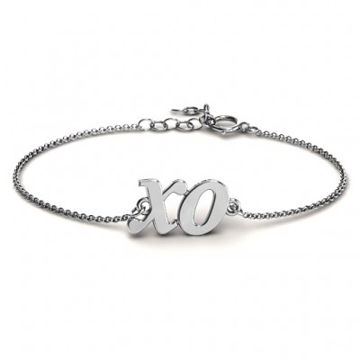 18CT White Gold Classic Kiss and Hug Bracelet