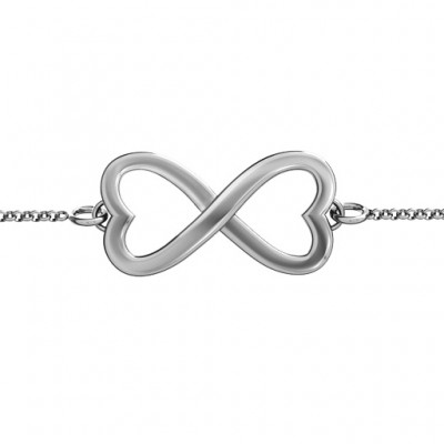 18CT White Gold Double Heart Infinity Bracelet