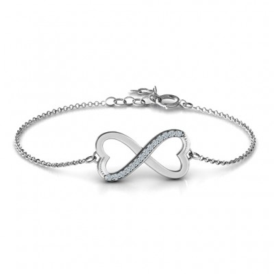 18CT White Gold Double Heart Infinity Bracelet with Accents