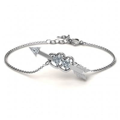 Solid White Gold Double Heart with Arrow and Two Heart Stones Promise Bracelet