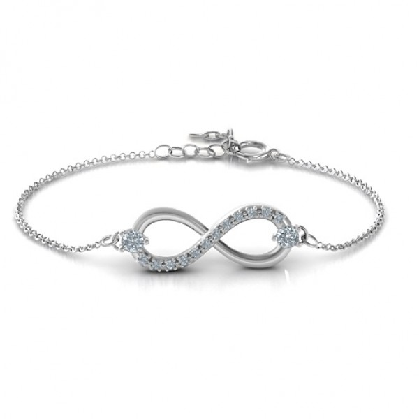 18CT White Gold Double Stone Infinity Accent Bracelet