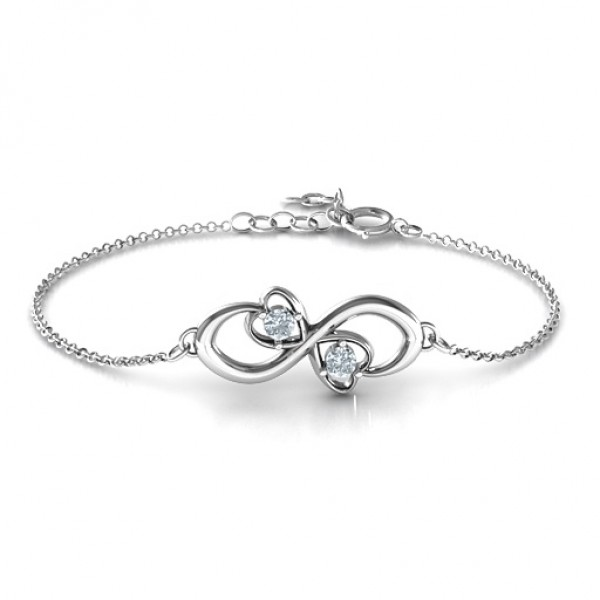 18CT White Gold Duo of Hearts and Stones Infinity Bracelet