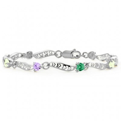 18CT White Gold Embedded Hearts 1-8 Stones Bracelet