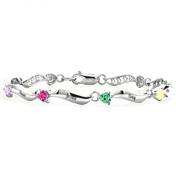 18CT White Gold Engraved Bracelet with 1-8 Stones