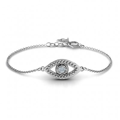18CT White Gold Evil Eye Bracelet