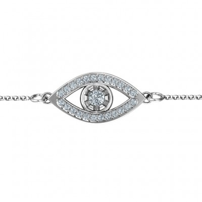 18CT White Gold Evil Eye Bracelet with Accents