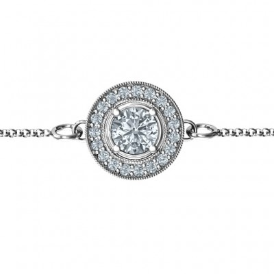 18CT White Gold Halo and Accents Bracelet