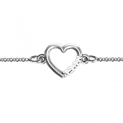 18CT White Gold Heart 'Ahava' Bracelet