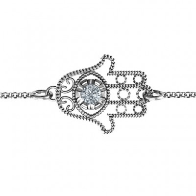 18CT White Gold Horizontal Hamsa Bracelet