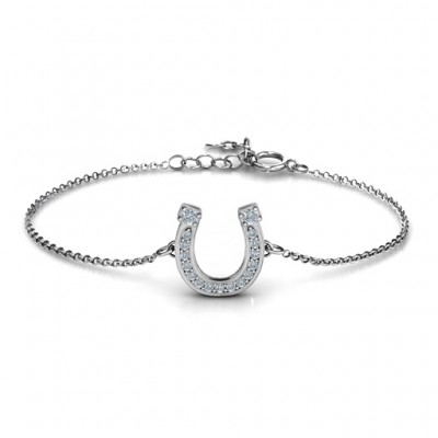 Solid Gold Horseshoe Bracelet with Two Stones and Accents