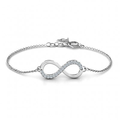 18CT White Gold Infinity Bracelet with Single Accent Row