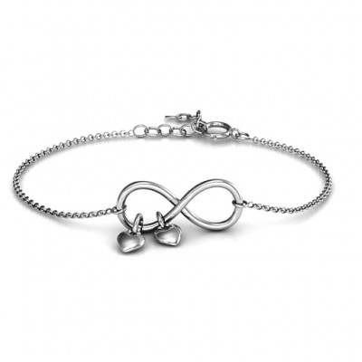 Solid Gold Infinity Promise Bracelet with Two Heart Charms