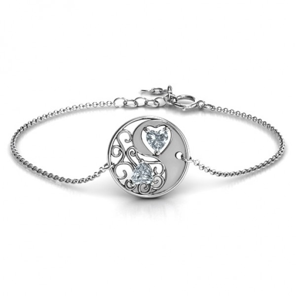 18CT White Gold Love, Life and Balance Bracelet