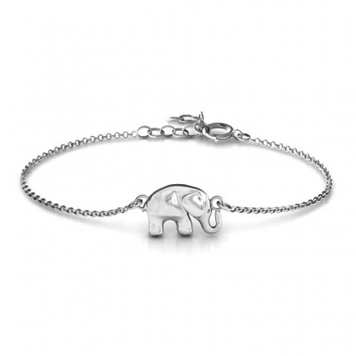 18CT White Gold Lucky Elephant Bracelet