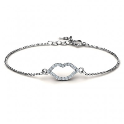 18CT White Gold Lustrous Lips Bracelet