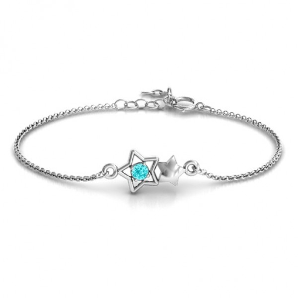 18CT White Gold Me and My Shadow Star Bracelet