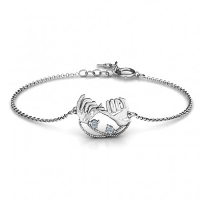 18CT White Gold Pinky Swear Promise Bracelet