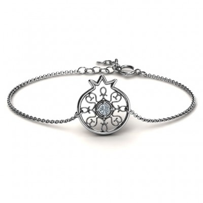 18CT White Gold Pomegranate with Filigree Bracelet