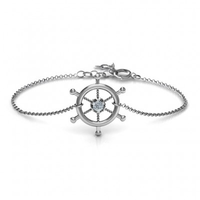 18CT White Gold Ship's Wheel Bracelet