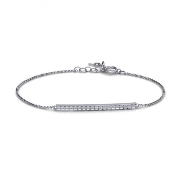 18CT White Gold Beaming Bar Bracelet With Cubic Zirconia Accent Stones