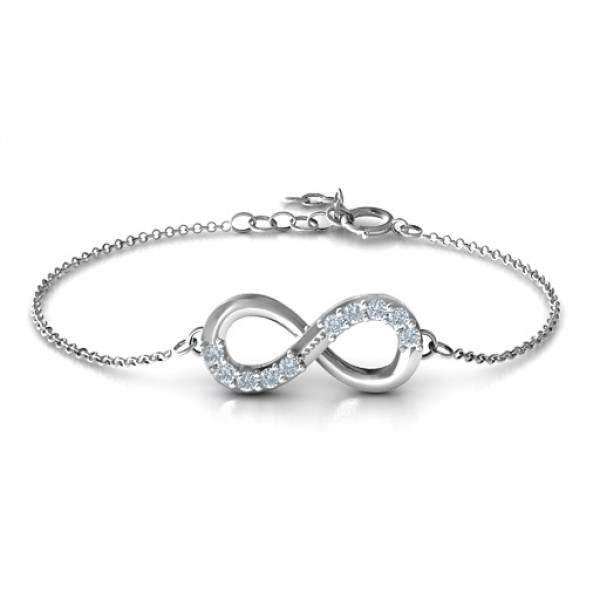 18CT White Gold Birthstone Accent Infinity Bracelet