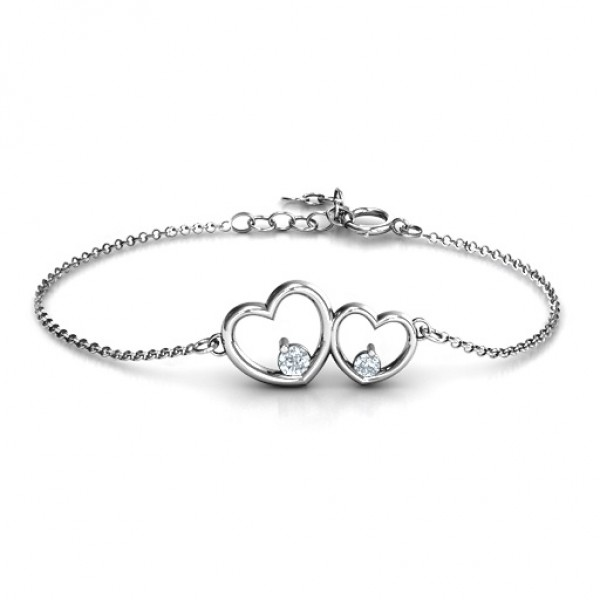 18CT White Gold Double Heart With Two Stones Bracelet