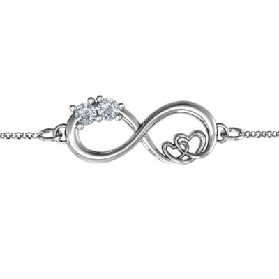 18CT White Gold Double the Love Infinity Bracelet