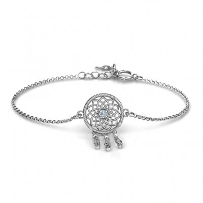 Personalised 18CT White Gold Dream Catcher Bracelet