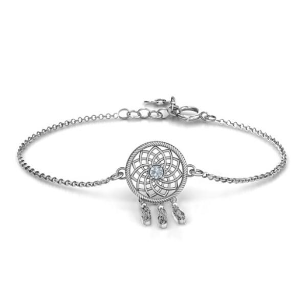 Personalised 18CT White Gold Dream Catcher Bracelet