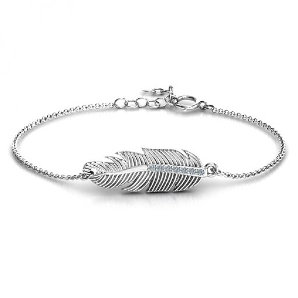 18CT White Gold Feather with Accent Stones Bracelet