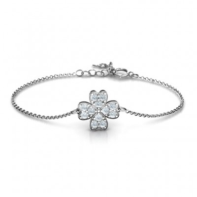 18CT White Gold Four Leaf Heart Clover Bracelet