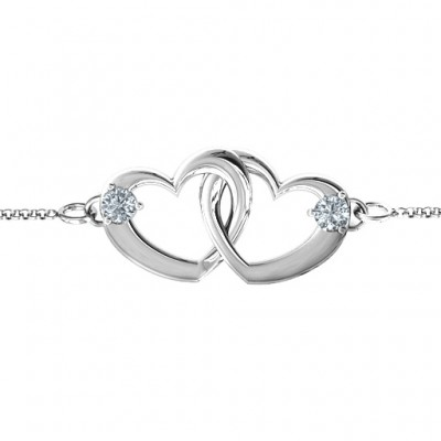 18CT White Gold Interlocking Heart Promise Bracelet with Two Stones