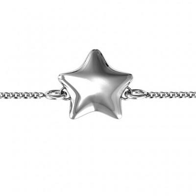 Personalised 18CT White Gold Lucky Star Bracelet