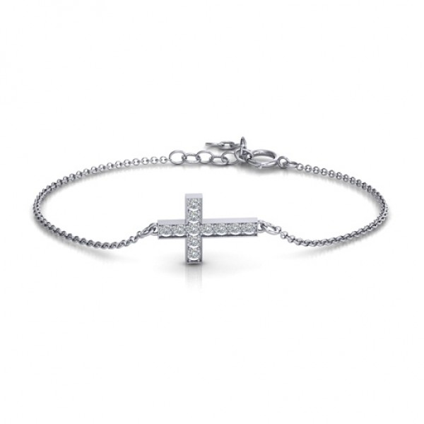 18CT White Gold Shimmering Cross Bracelet With Cubic Zirconia Accent Stones