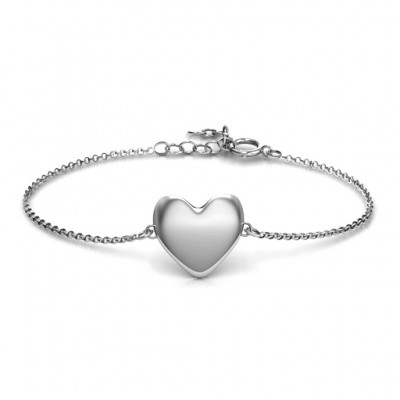 Personalised 18CT White Gold Sweet Heart Bracelet
