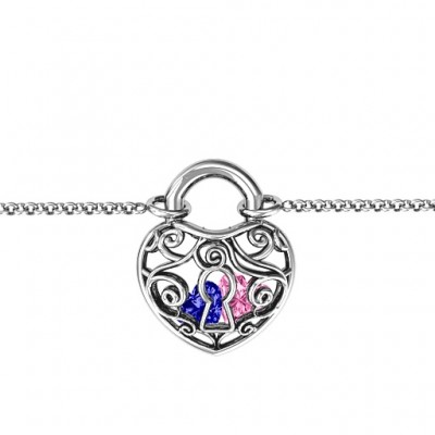 Personalised 18CT White Gold True Love's Lock Caged Bracelet