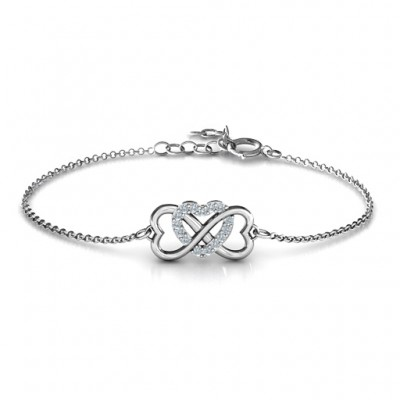 18CT White Gold Triple Heart Infinity Bracelet