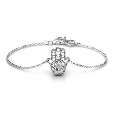 18CT White Gold Upright Hamsa Bracelet