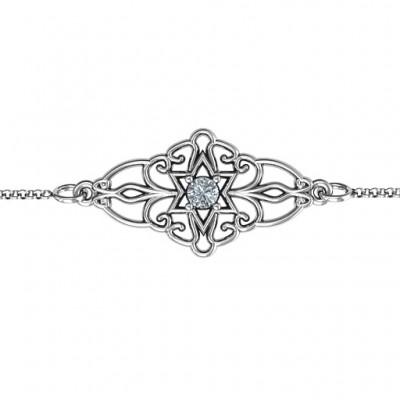 18CT White Gold Vintage Star of David Bracelet