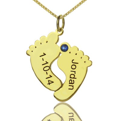 Birthstone Memory Baby Feet Charms with Date Name - 18CT Gold